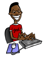 geek on keyboard